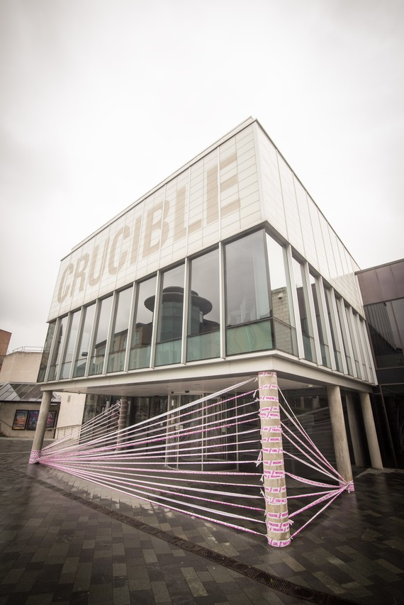 The Crucible entrance covered in a design of tape