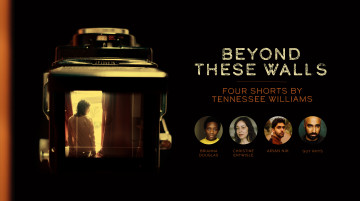 The image of a woman at a window is captured by a camera. The title 'Beyond These Walls' and images of 4 cast members