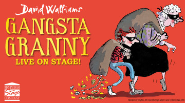 """Illustration by Tony Ross of a grandma and grandson sneaking off with large swag bags thrown over their shoulders. The grandson's is leaking necklaces and diamonds. Both wear black masks covering their eyes. Text reads """"David Walliams – Gangsta Granny: live on stage!""""."""