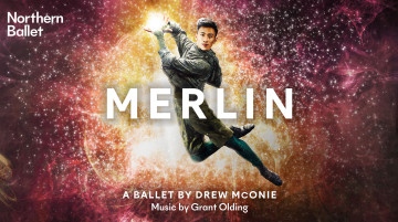 """A dancer poses, mid-leap, facing the camera. His hands close together, he seems to be holding light. Behind him is a background of dark pinks and oranges with flecks of light emerging from the centre. Text reads """"Northern Ballet: Merlin. A ballet by Drew McOnie, music by Grant Olding""""."""