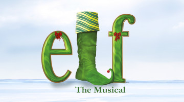 """A calm snowy background, the word """"elf"""" appears in green with red bows on the 'e' and 'f'. The 'l' is a large elf's shoe with curled toe."""
