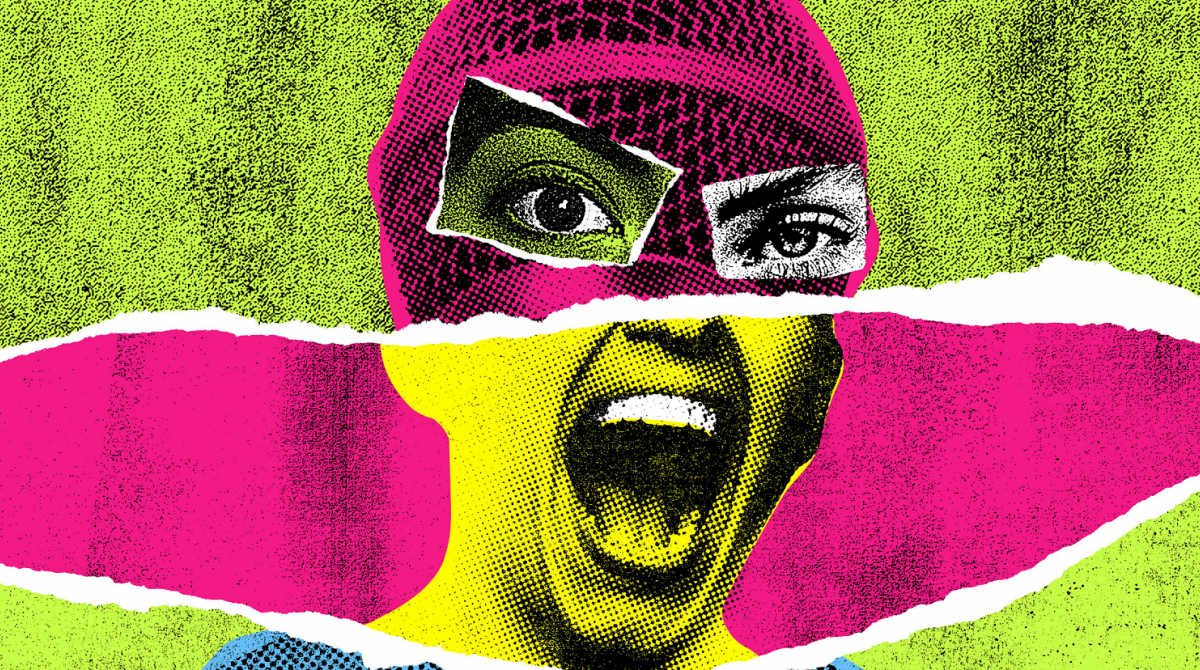A punk style image of a woman screaming made up of clippings of different photos in green, pink and yellow