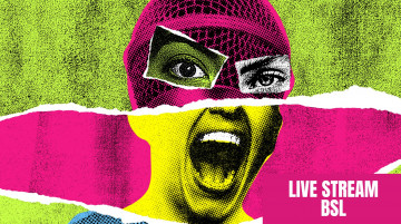 A woman's face made out of a collage of different faces. The image is punk inspired and bright pink, yellow and green