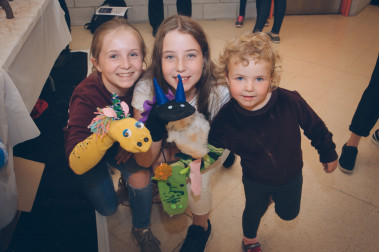 Children participating in a sock puppet workshop at Sheffield Theatres