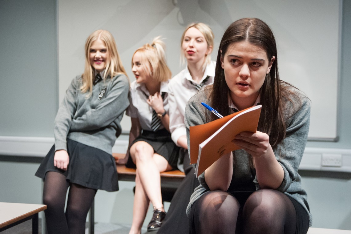Production Image of members of Sheffield People's Theatre Young Company performing Bassett