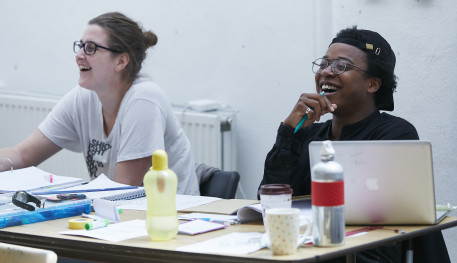 Deputy Stage Manager Olivia Dudley and Assistant Director Taio Lawson in rehearsals for Love and Information