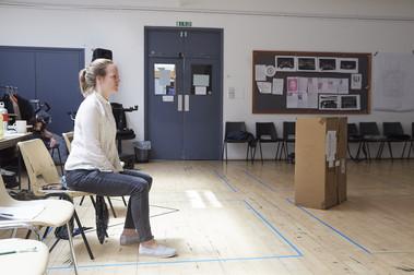 Director of Love and Information, Caroline Steinbeis, in rehearsals
