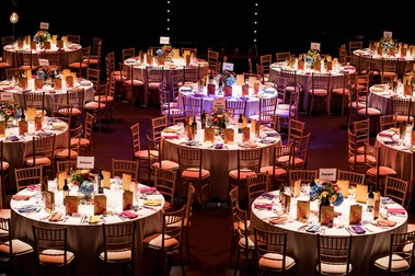 Tables set for Sheffield Theatre's Fundraising Gala in the Crucible Auditorium