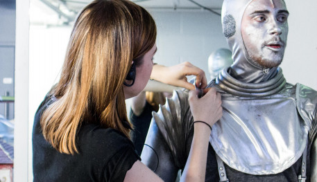 The wardrobe team at Sheffield Theatres making the costume for the TinMan, for our production of The Wizard of Oz