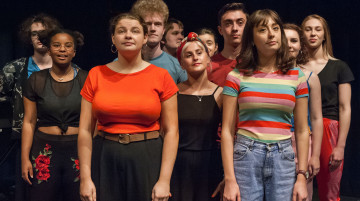 A production shot of members of Sheffield People's Theatre Young Company's production of Losing It