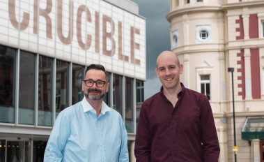 Sheffield Theatres' Chief Excutive, Dan Bates, and Artistic Director, Rob Hastie, in front of the Crucible building