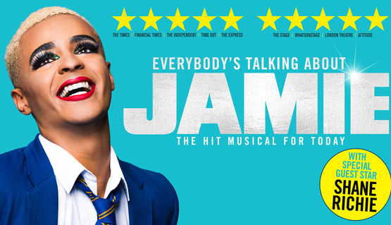 """Shot from the chest up, an actor, Layton Williams, stands in school uniform of blue blazer and tie. His head is thrown back in laughter. He wears bold red lipstick, dramatic eye make-up, and large false eyelashes. There are 5 star ratings from The Times, Financial Times, The Independent; Time Out; The Express; The Stage; WhatsOnStage; London Theatre; and Attitude. Text reads """"Everybody's Talking About Jamie – the hit musical for today. With special guest star Shane Richie""""."""