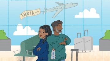 An illustration of an Indian couple standing back to back in an airport waiting room, looking disgruntled. A plane takes off behind them, with a sign reading 'India'.