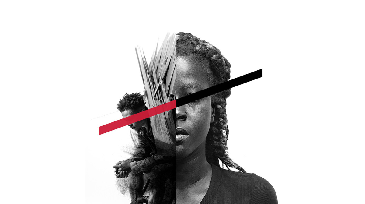 A split black and white image of a black man crouched with his hands clasped and a black woman staring straight ahead. A red and black line block both of their eyes.