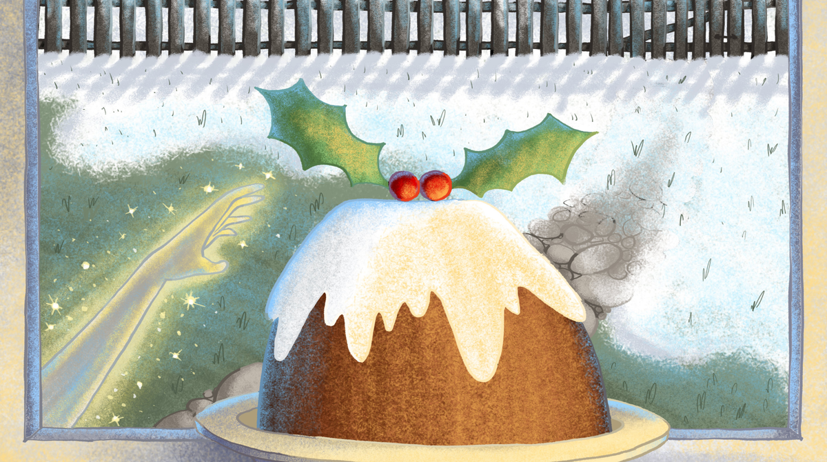 An illustration in soft colours of a Christmas pudding on an open window sill with snow falling in the background. A sparkly hand reaches up towards the pudding.