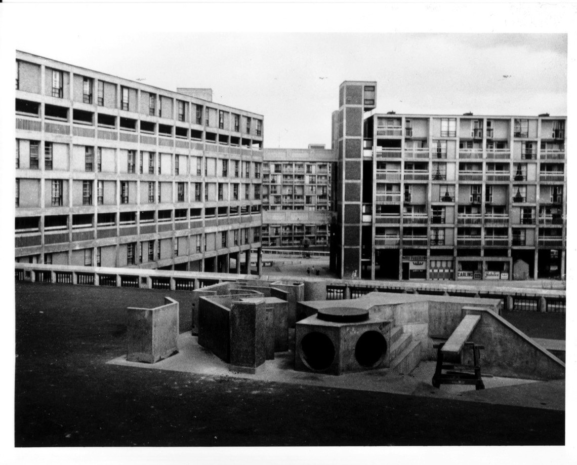 Photo of playground and flats of Park Hill