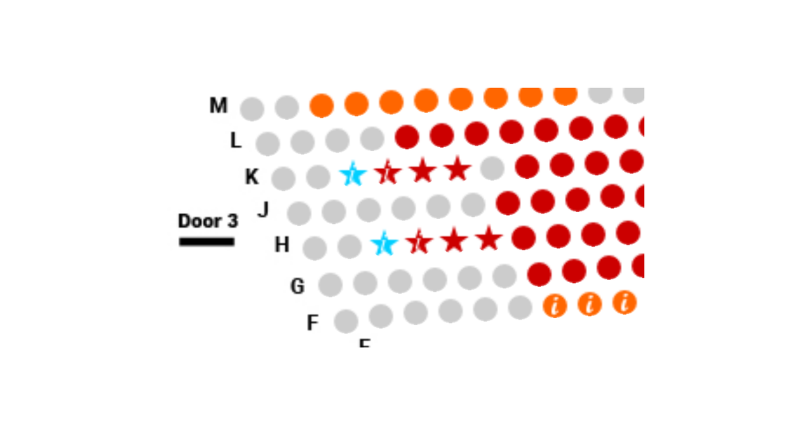 Seating map describing blue stars as wheelchair and red stars as additional seats next to wheelchair