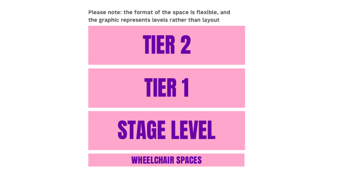 Example of the Studio seating plan with wheelchair spaces section