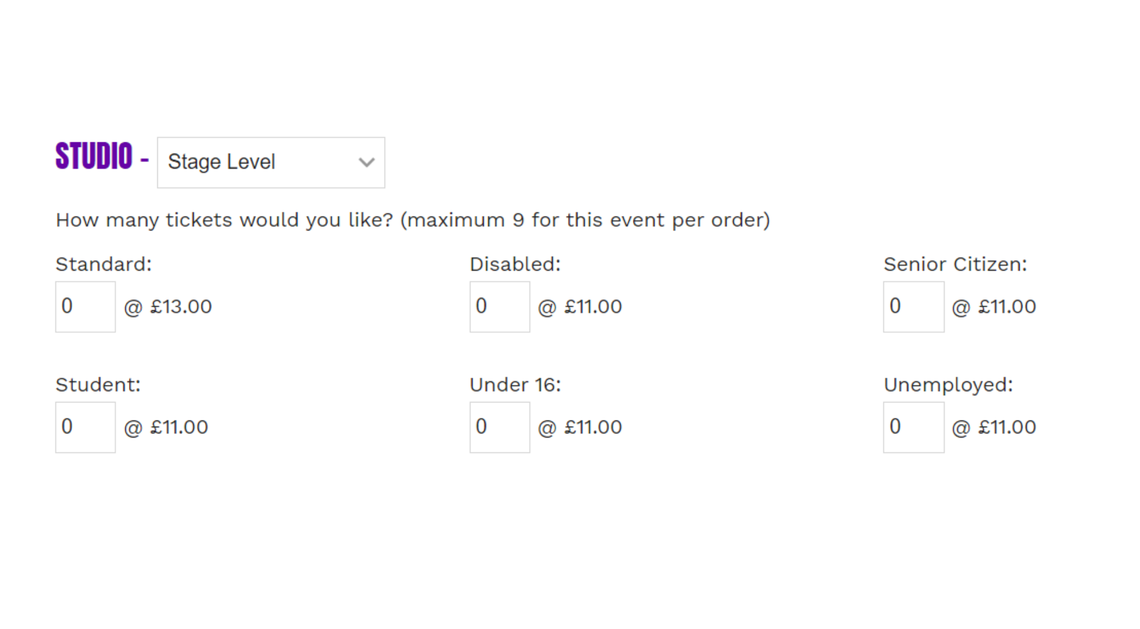 Example of what your other tickets types will look like when you go back and select 'Stage Level'